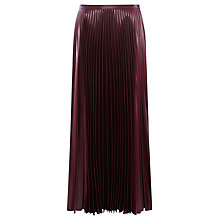 Buy Karen Millen Pleated Skirt, Aubergine Online at johnlewis.com
