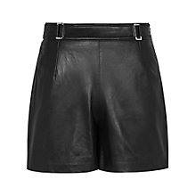 Buy Reiss Leather Bowery Shorts, Black Online at johnlewis.com