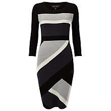 Buy Phase Eight Dona Diagonal Block Dress, Black/Grey Online at johnlewis.com