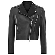 Buy Reiss Phoebe Bonded Leather Jacket, Black Online at johnlewis.com
