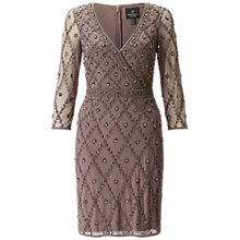 Buy Adrianna Papell Long Sleeve V-Neck Beaded Cocktail Dress, Stone Online at johnlewis.com
