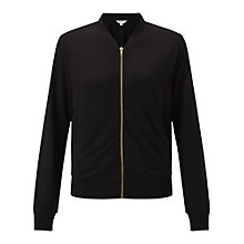 Buy Miss Selfridge Jersey Bomber Jacket, Black Online at johnlewis.com