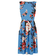 Buy Oasis Rose Pleated Skater Dress, Mid Blue Online at johnlewis.com