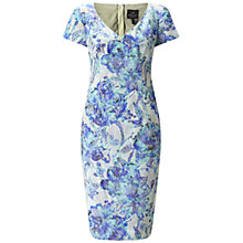 Buy Adrianna Papell V-Neck Short Sleeve Floral Jacquard Dress, Blue/Multi Online at johnlewis.com