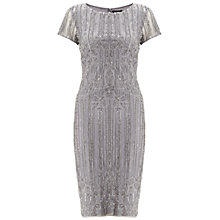 Buy Adrianna Papell Mid Length Beaded Cocktail Dress, Silver/Grey Online at johnlewis.com