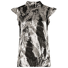 Buy Reiss Andi Burnout Top, Platinum/Black Online at johnlewis.com