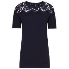 Buy Reiss Dana Lace Short Sleeve Jumper, Navy Online at johnlewis.com