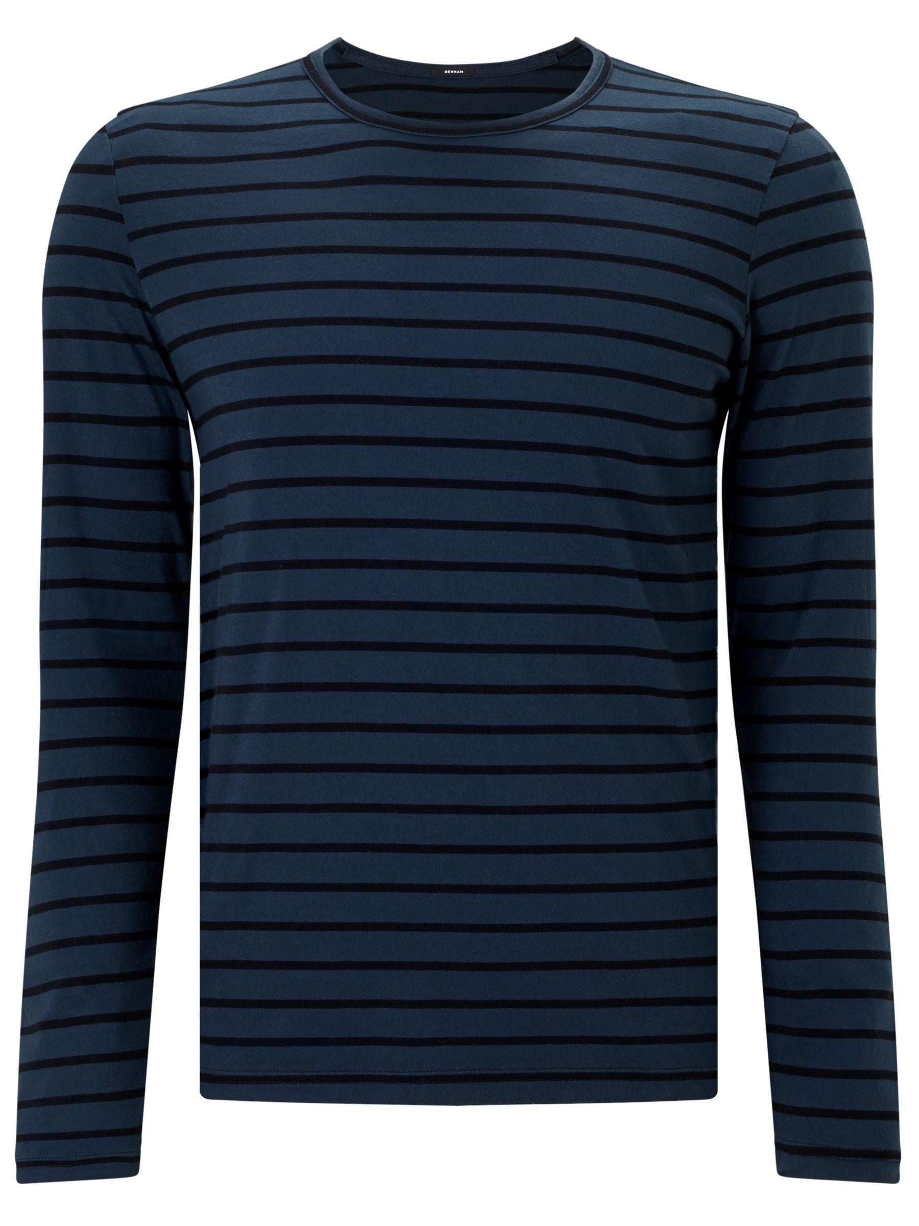Denham Denham Signature Long Sleeve Stripe T-Shirt, Night Sky