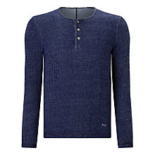 Buy Denham Irvin Henley Long Sleeve Shirt, Indigo Online at johnlewis.com