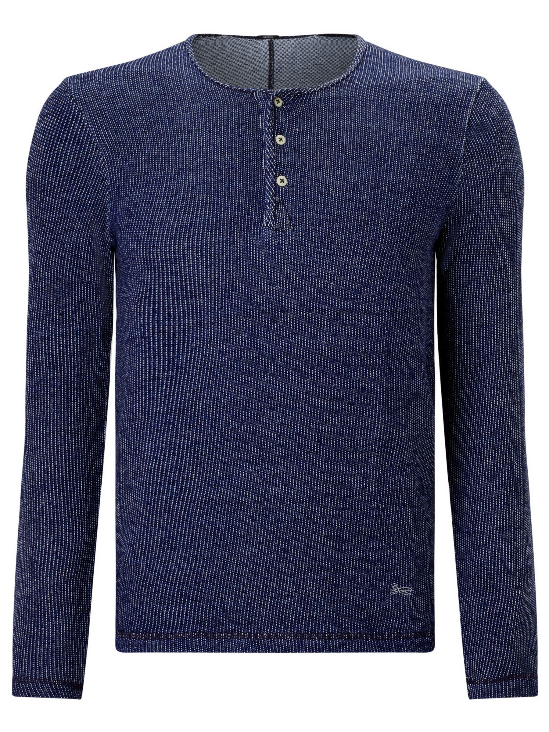 Denham Denham Irvin Henley Long Sleeve Shirt, Indigo