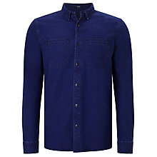 Buy Denham Edged Cotton Shirt, Indigo Online at johnlewis.com