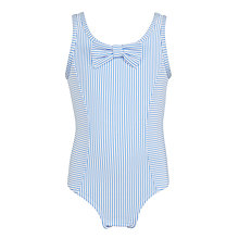 Buy John Lewis Girls' Seersucker Stripe Swimsuit, Blue Online at johnlewis.com