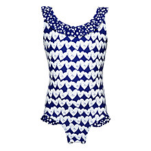 Buy John Lewis Girls' Heart Print Swimsuit, Royal Blue Online at johnlewis.com