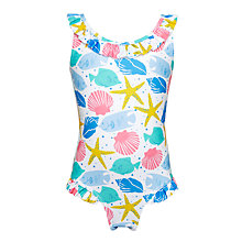 Buy John Lewis Girls' Seashell Print Swimsuit, White Online at johnlewis.com