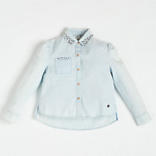 Buy Angel & Rocket Girls' Chambray Shirt, Blue Online at johnlewis.com
