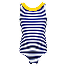 Buy John Lewis Girls' Horizontal Stripe Swimsuit, Royal Blue Online at johnlewis.com
