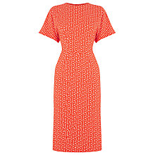 Buy Warehouse Squiggle Midi Dress, Bright Red Online at johnlewis.com