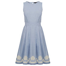 Buy Warehouse Chambray Cutwork Dress, Light Blue Online at johnlewis.com