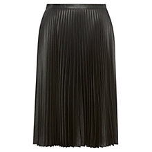 Buy Karen Millen Wet Look Pleat Skirt, Black Online at johnlewis.com