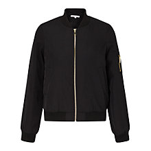 Buy Miss Selfridge Petite Bomber Jacket, Black Online at johnlewis.com