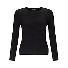 Buy Miss Selfridge Tie Side Rib Top, Black Online at johnlewis.com