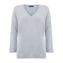 Buy Mint Velvet V-Neck Silk Detail Knit Jumper Online at johnlewis.com