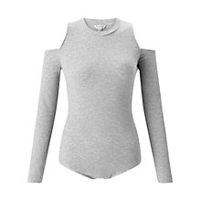 Buy Miss Selfridge Rib Cold Shoulder Body, Grey Online at johnlewis.com