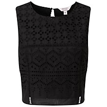 Buy Miss Selfridge Cutwork Shell Top, Black Online at johnlewis.com