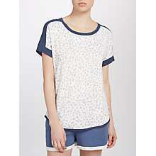 Buy DKNY Animal Print Short Sleeve Pyjama Top, Grey/White Online at johnlewis.com