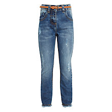 Buy John Lewis Girls' Frayed Hem Jeans with Plaited Belt, Denim Online at johnlewis.com