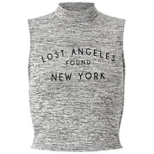 Buy Miss Selfridge Petite Lost Angeles Top, Grey Online at johnlewis.com