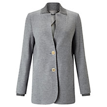 Buy Jigsaw Double Knit Rib Jacket, Pale Grey Online at johnlewis.com