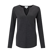 Buy Jigsaw Merino Wool Slit Neck Jumper, Graphite Online at johnlewis.com