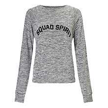 Buy Miss Selfridge Petite Squad Spirit Sweatshirt, Mid Grey Online at johnlewis.com