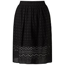 Buy Miss Selfridge Petite Cutwork Midi Skirt, Black Online at johnlewis.com
