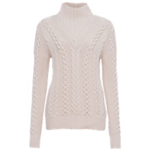 Buy French Connection Cable Knit High Neck Sweater, Classic Cream Online at johnlewis.com