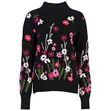 Buy French Connection Floral Garden Embroidered Jumper, Black Multi Online at johnlewis.com