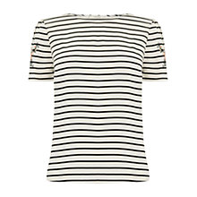 Buy Oasis Embroidered Stripe T-Shirt, Multi/Blue Online at johnlewis.com