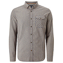 Buy John Lewis Print Effect Check Laundered Cotton Shirt, Grey Online at johnlewis.com
