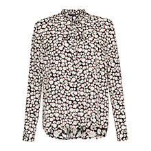 Buy French Connection Bloomsbury Daisy Tie Neck Blouse, Black/Multi Online at johnlewis.com