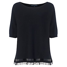 Buy French Connection Embellished Fringe Crew Knit Jumper, Black/Black Beads Online at johnlewis.com