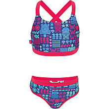 Buy Fat Face Girls' Turtle and Sea Scene Bikini Set, Blue/Red Online at johnlewis.com