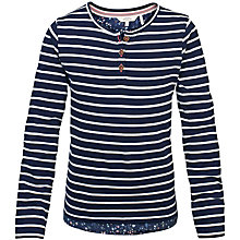 Buy Fat Face Girls' Jemima Stripe Top, Light Navy/White Online at johnlewis.com