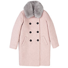 Buy Jigsaw Girls' Faux Fur Collar Coat, Pink Online at johnlewis.com
