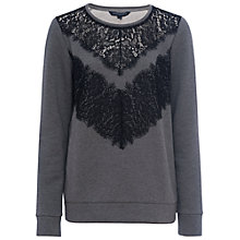 Buy French Connection Misty Lace Jumper, Mid Grey Melange Online at johnlewis.com