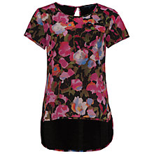 Buy French Connection Adeline Dream Polly Short Sleeve T-Shirt, Calypso Coral/Multi Online at johnlewis.com