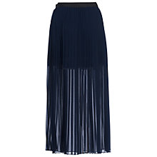 Buy French Connection Coopper Sheer Pleated Maxi Skirt, Nocturnal Navy Online at johnlewis.com