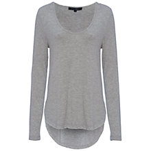 Buy French Connection Marley Long Sleeved Scoop Neck Top, Dove Grey Mel Online at johnlewis.com