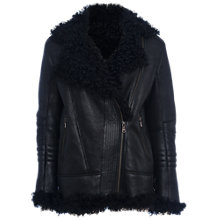 Buy French Connection Night Toscana Shearling Jacket, Black Leather Online at johnlewis.com