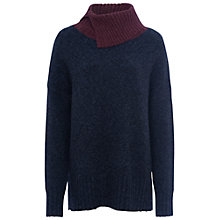 Buy French Connection RSVP Roll Neck Jumper, Navy/Winter Wine Online at johnlewis.com